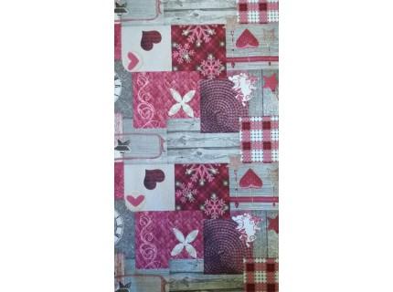 Folt-Bordó, patchwork mintás, karácsonyi lakástextil, loneta dekorvászon