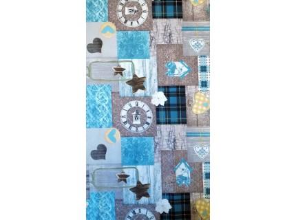 Folt-Kék, patchwork mintás, karácsonyi lakástextil, loneta dekorvászon