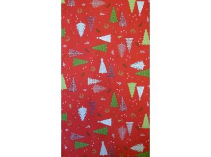 Karácsonyfa-Piros, karácsonyi lakástextil, loneta dekorvászon
