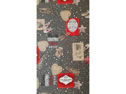 Síléc szürke-Mintás, karácsonyi lakástextil, loneta dekorvászon