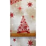 Shine piros-Mintás, karácsonyi lakástextil, loneta dekorvászon