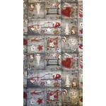 Winter bordó-Mintás, karácsonyi lakástextil, loneta dekorvászon
