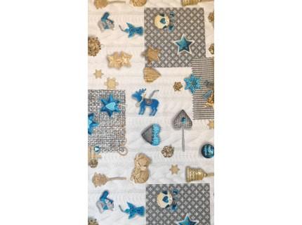 Üstökös kék-Mintás, karácsonyi lakástextil, loneta dekorvászon