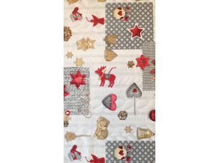 Üstökös piros-Mintás, karácsonyi lakástextil, loneta dekorvászon