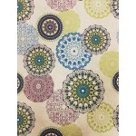 Mandala-zöld lakástextil, loneta dekorvászon