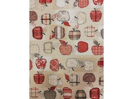 Alma-piros lakástextil, loneta dekorvászon