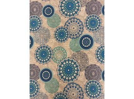 Mandala-kék lakástextil, loneta dekorvászon